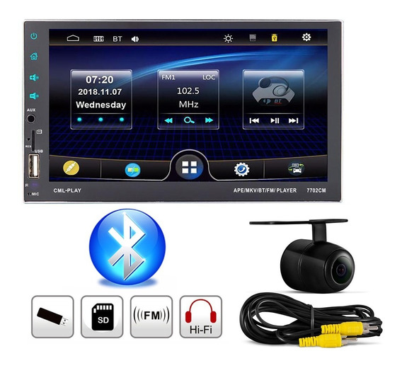 Central Multimídia Mp5 Bluetooth Espelhamento + Câmera De Ré
