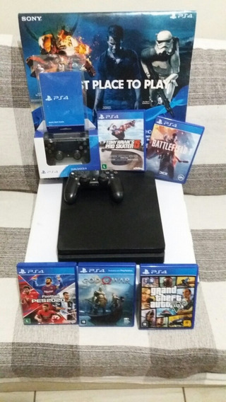 Sony Playstation 4 Ps4 +2 Controles Sony +5 Jogos