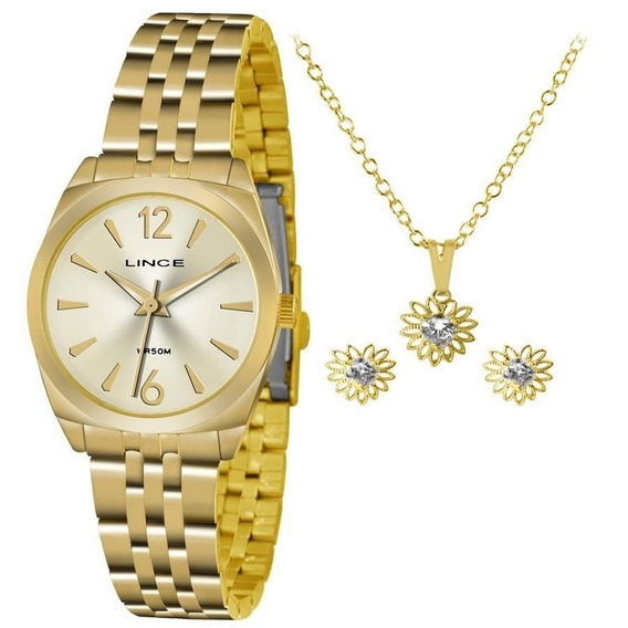 Relógio Lince Feminino Lrgh073l Ku68c2kx Dourado + Semijóia