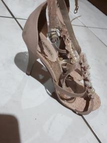 Sandália Rosê Com Pérolas - 9 Cm