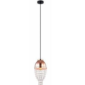 Pendente Retro 1 Lâmpada Aramado Bronze 21cm X 41cm +luz