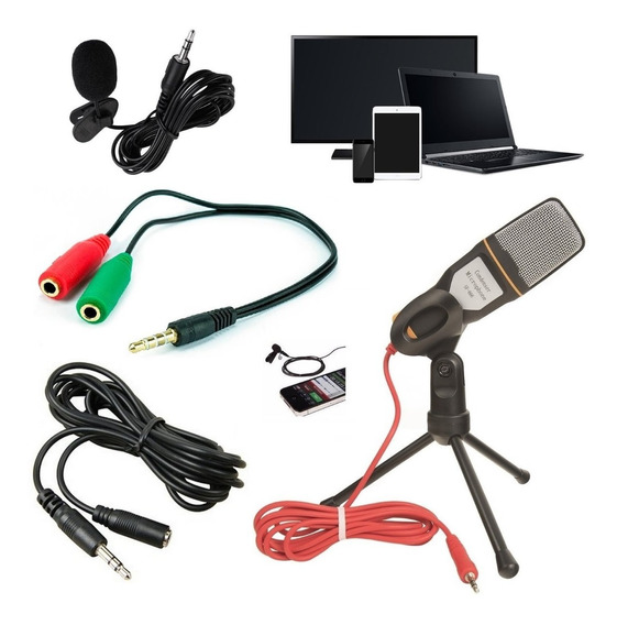 Kit Gravação Microfone De Mesa + Lapela Celular Pc Youtuber