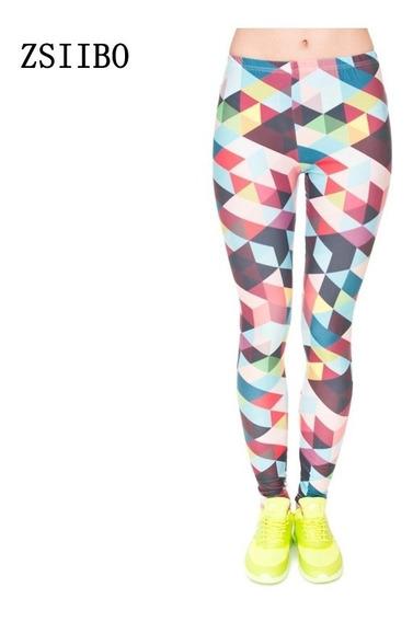 Leggings De Triangulos Coloridos Sexy Moda Gym 2018