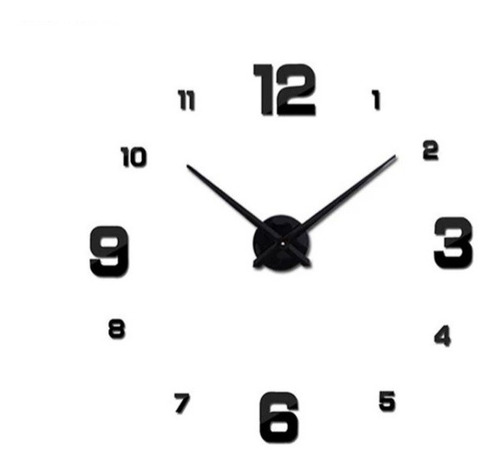 Reloj De Pared 3d Grande Negro  100x100cm