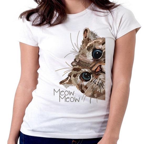 Blusa Feminina Baby Look Meow Meow Gato Cat Espiando Tamanho