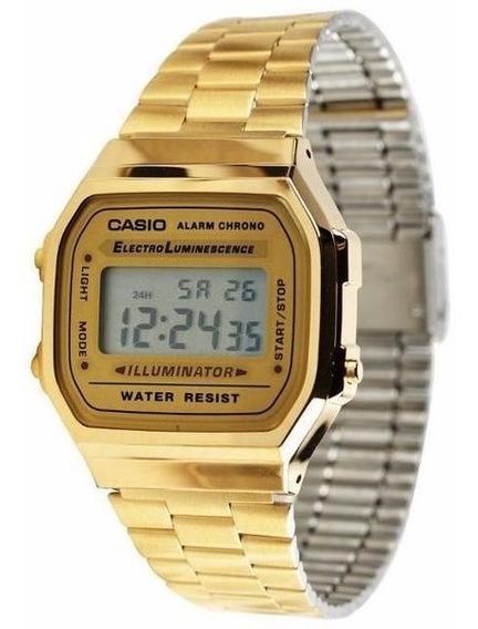 Relógio Feminino Casio Dourado Retrô A168wg 9w 100% Original