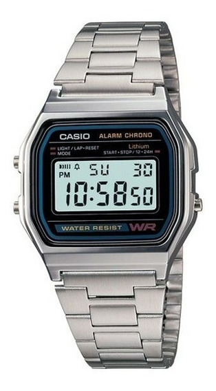 Relogio Digital Casio A158 Retrô Vintage Prata - Original