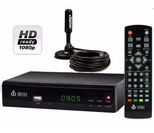 Kit Conversor Digital Full Hd Hdmi + Antena Tv Receptor Uhf