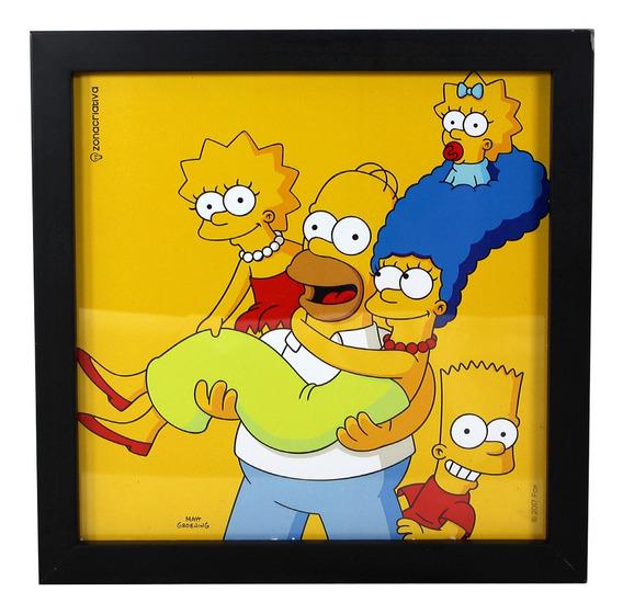 Kit C/2 Quadros 22x22cm Simpsons Familia Zcriativa