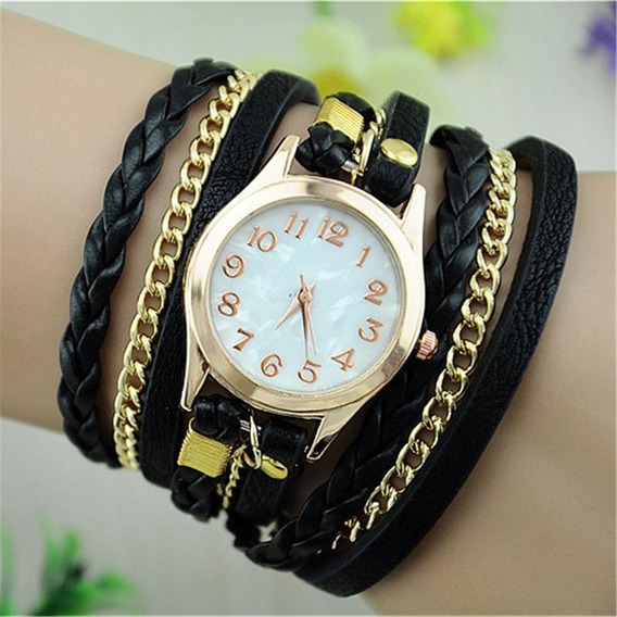 Relógio Feminino Bracelete Vintage Pulseira Couro