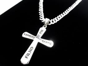 Corrente Cordão Prata Maciça 925 Pingente Crucifixo Garantia