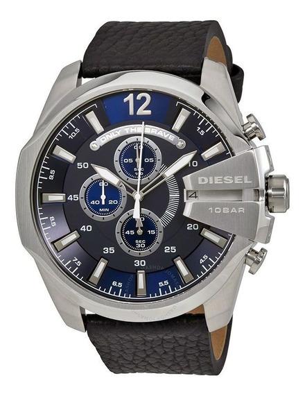 Relógio Diesel Dz4423 Mega Chief Prata Fundo Azul Couro