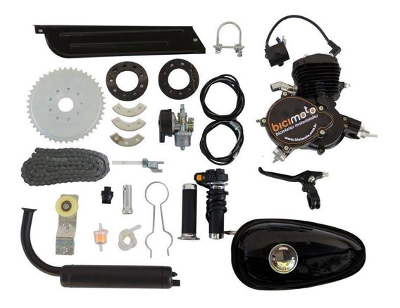 Kit Motor Para Bicicleta 48cc 2 Tempos - Preto Full Black