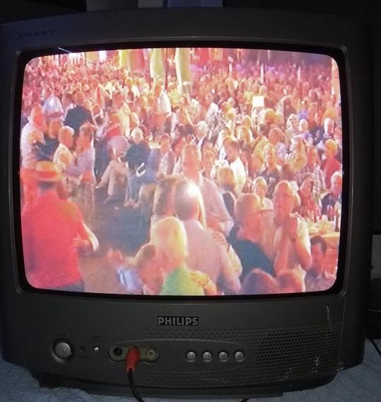 Tv Usada Philips Tubo 14 Polegadas Colorida Bivolt-guarulhos