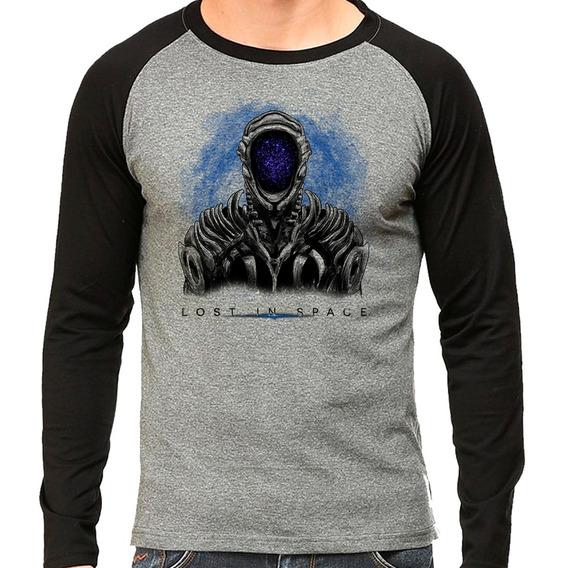 Camiseta Lost In Space Série Netflix Raglan Mescla Longa