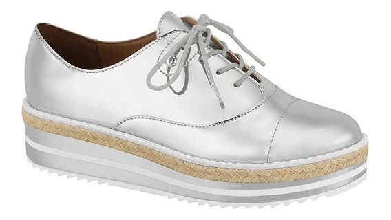 Sapato Oxford Flatform Feminino Vizzano Metal Prata 1241100