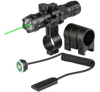 Apuntador Láser Mira Verde Montura Rifle Táctico Cacería