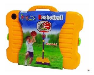 Aro De Basquet Infantil Portable En Valija Regulable 1.62 M