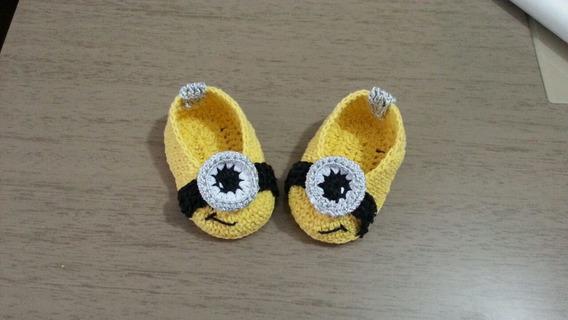 Sapatinho De Crochê Minions Para Bebê
