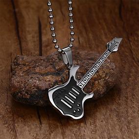 Colar Aço Inoxidável Guitarra Musica Rock Gargantilha