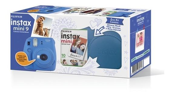 Kit Câmera Instax Mini 9 Azul Cobalto - Temos Loja Física
