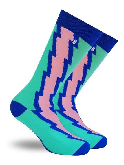 Calcetin Verde Aqua Monday Socks Con Rayo Azul Y Rosa