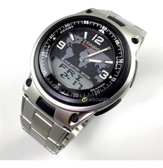 Aw-80d-1a2 Relógio Casio Anadigi Pulseira Aço 3 Alarmes Wr50