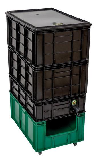 Composteira Doméstica 128 Litros + Suporte + Minhocas
