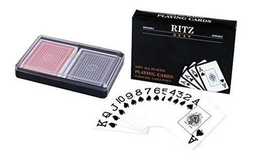 Imagen 1 de 1 de Ritz-2 Cubiertas Tamaño Poker Tarjetas Juego 100% Plástic