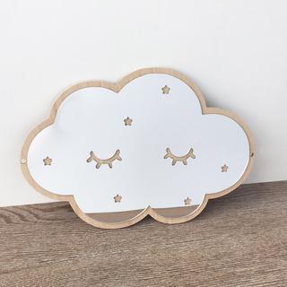 Espejo Decorativo Acrilico Madera Stickers Pared Cloud Nube