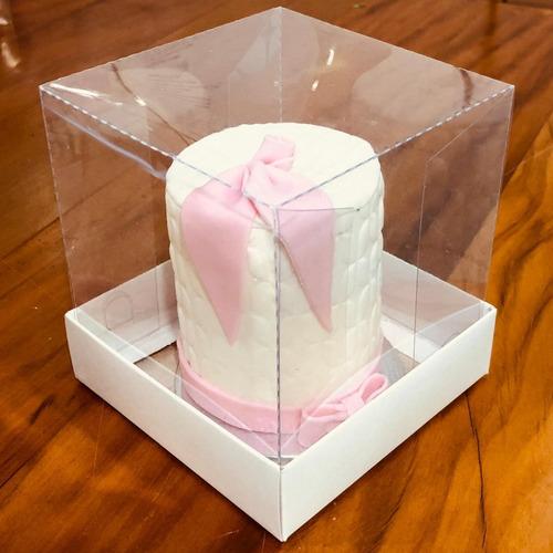 Imagem 1 de 2 de 10 Caixas Para Bolo 15x15 Tampa Acetato Branco Confeitaria