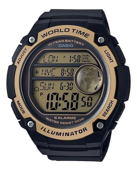Relógio Masculino Casio Digital Ae-3000w-9a Borracha Grande