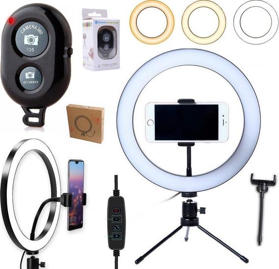Ring Light Iluminador Anel Luz Led Selfie Makeup Tripé Mesa