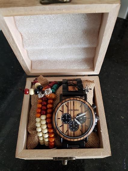Relógio Artesanal Madeira Bambu Bobobird Original Lançamento