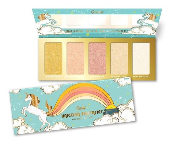 Paleta De 5 Iluminadores Unicorn Fantasies Excelente Pigmetación Para Todos Los Tonos De Piel Rude Cosmetics Original