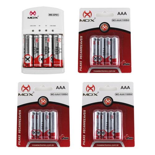 Imagem 1 de 1 de 16 Pilhas Recarregáveis Mox Sendo 4 Aa + 12 Aaa + Carregador