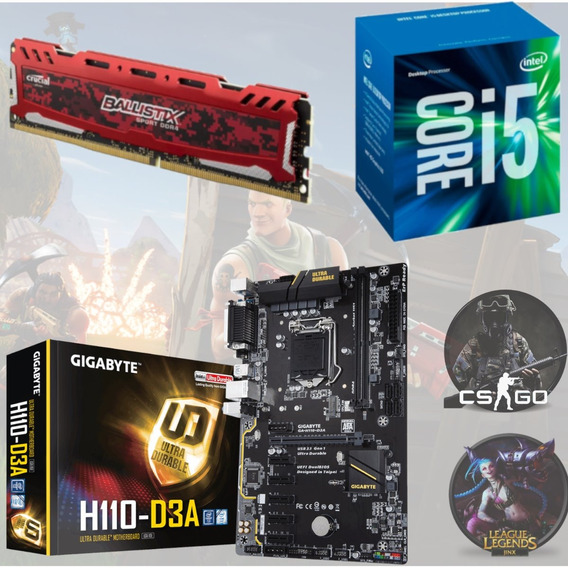 Kit Gamer Intel I5 7400 + Gigabyte H110 D3a + Bl 8gb 2400