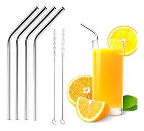 50 Canudos Inox C/ 50 Escovas De Limpeza Reutilizável