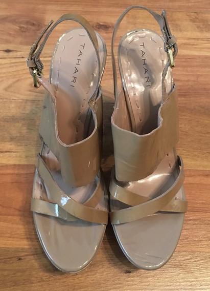 Padrisimos Zapatos Tacones Tahari Patent Leather Nude!!