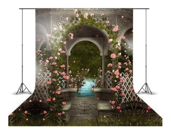 Pinel Fundo Fotográfico Flores Rosas Escadaria 3d 1,5x2,2