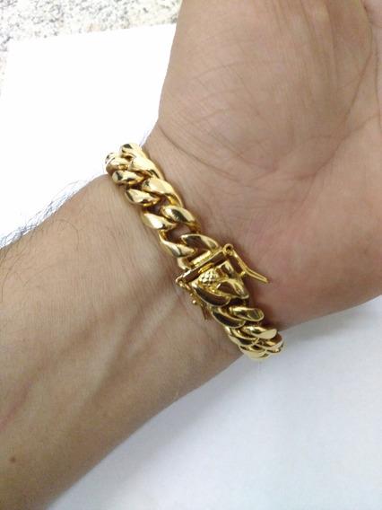 Pulseira Dourada Ouro 18k Banhada + Brinde + Frete