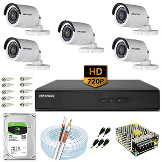 Kit Cftv 5 Câmeras 20m Hd 720p 1mp Dvr Hikvision Ds-7208 8ch