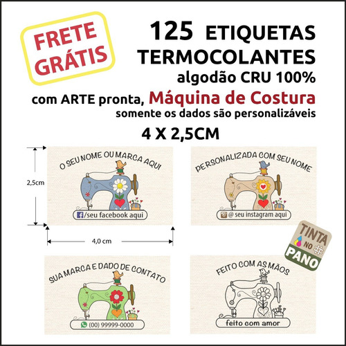 Etiqueta Termocolante Desenho Máquina Costura E Seus Dados.