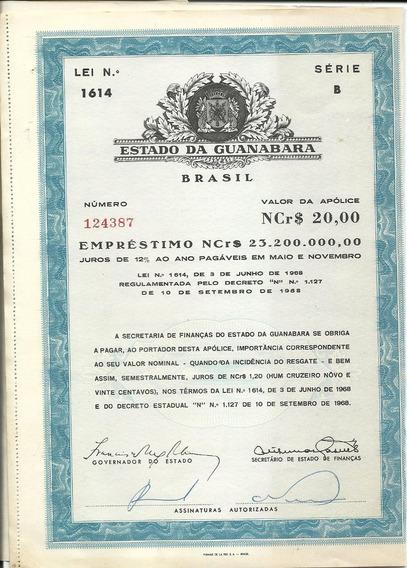 Apólice Estado Da Guanabara Serie B 12 Cupons Lei N° 1614 Nc
