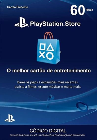Cartão Psn 60 R$ Reais Card Playstation Brasil Ps4 Ps3
