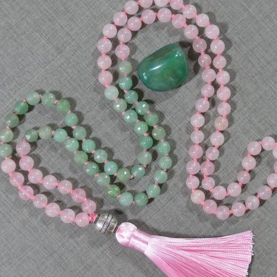 Japamala 108 Contas Quartzo Rosa E Verde Meru De Prata