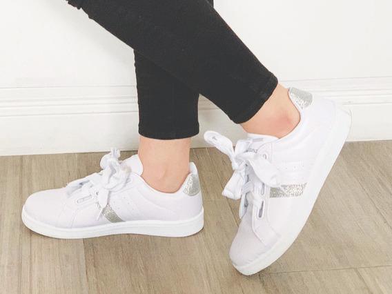 Zapatilla De Mujer Blanca-negra Acordonada
