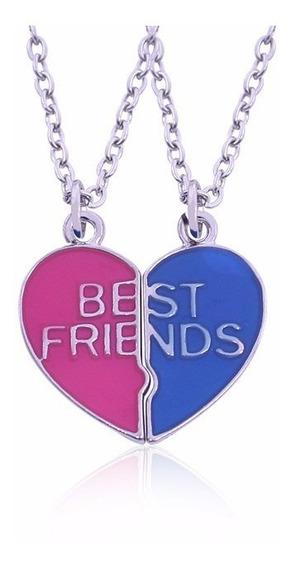 Colar Cordão Best Friends Melhores Amigas Amizade Rosa Azul