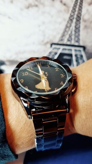 Relógio Feminino Preto Elegante Com Brinde
