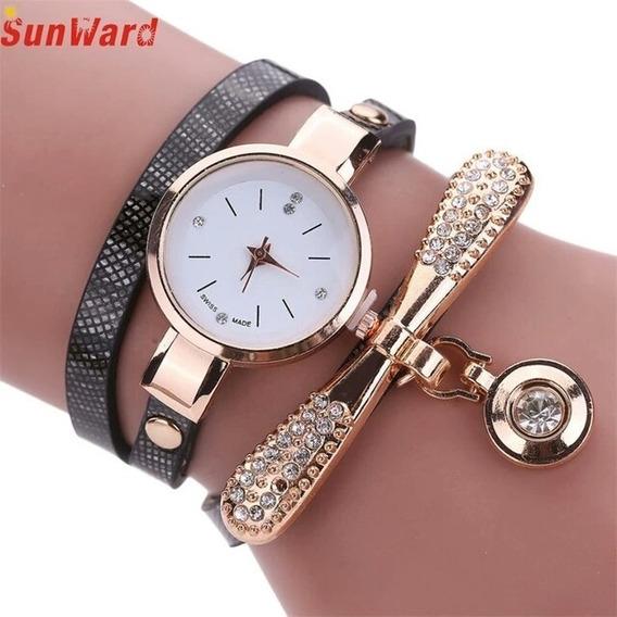 Relógio Feminino Pulseira Preta Ou Vermela Pingente Dourado